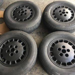 14″ Plato black mags used(5H-PCD114)w 185.80.r14 Goodyear
