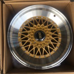 17″x8 BBS RS Gold Brandnew Newmesh Mags(4H-PCD100-114)