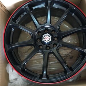17″ Scarlet STW497 Black with red lip lining 4Holes pcd 100-114 bnew magwheels