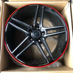 18″ A0813 Black polish with red line mags 5 holes PCD 114