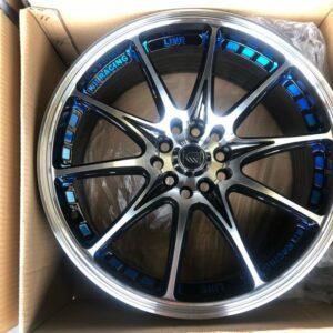 17″ A0841 Black Polish Blue undercut mags 5 holes PCD 100-114