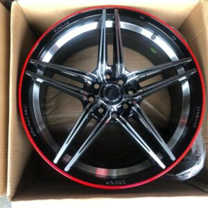 17″ A0820 Black polish with red line mags 4 holes PCD 100-114
