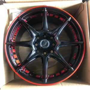 15″ A0840 Black with Red lining mags 4 holes PCD 100-114
