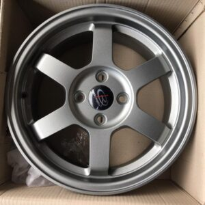 "15""Rota Grid1 Mattegray 4Holes pcd 100 mags bnew"