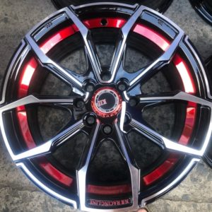 15 KT Mags code 0847 4Holes pcd 100 n 114 Black Polish with red color