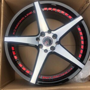 17 K2 wheels code 0835 4Holes PCD 100 n 114 bnew Polish black and red trims