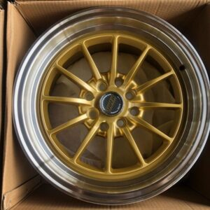 15″ x8.25 Volkrays Stance QC104 Gold bnew mags  4Holes PCD100 and 114