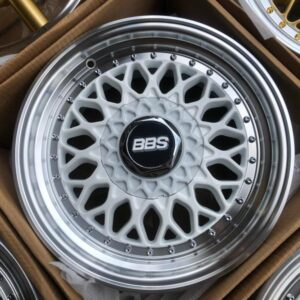 17″ BBS RS White Polish Lip code QC112 bnew mags 4Holes PCD100 and 114