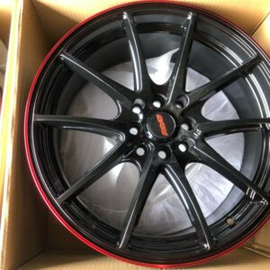 17″ G25 Bnew code QC148 mags 4Holes PCD100-114 Black with Red lip