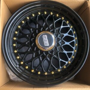 17″ BBS RS Full Black code QC112 bnew mags 4Holes PCD100 and 114