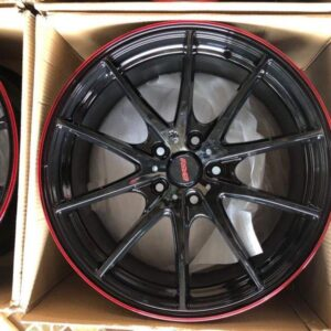 18″ G25 Bnew code QC148 mags 5Holes PCD 114 Black with Red lip