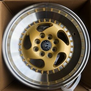 15″ x8.5 BlackHorse Stance QC5119 Gold face Polish lip bnew mags  4Holes PCD100 and 114