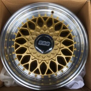 17″ BBS RS Gold Polish Lip code QC112 bnew mags 4Holes PCD100 and 114