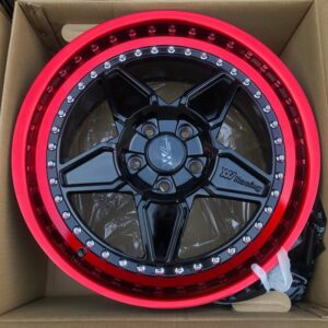 18″ Extreme wheels DXW011 Mags 5Holes pcd 114 Black Red lip