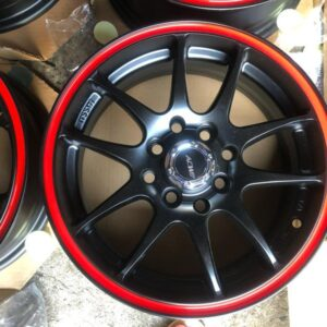 14″ AC Wheels 1103 Mags 4Holes pcd 100-114 Black with red lip