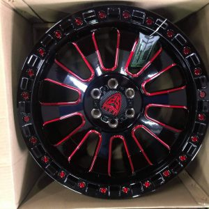 18″ Beast 9605 Mags 6Holes pcd 114 fit Navara and Terra Red GlossBlack