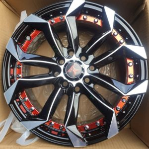 15″ Fast & Furious A15068 Mags 4Holes pcd 100-114 bnew Black polish with red undercut